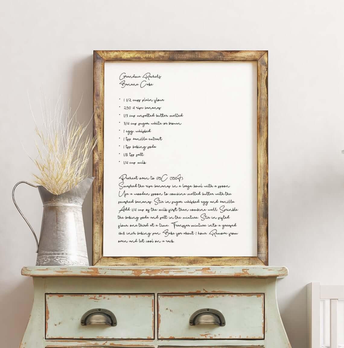 Wall Decor Ideas - Recipe print